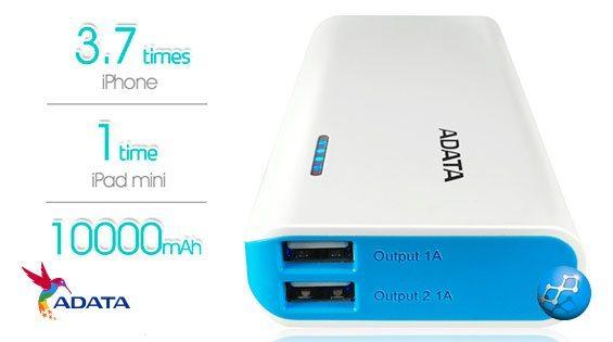 Power Bank 10000 mAh Adata PT100 cargar celular