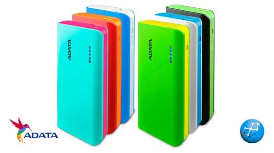 Power Bank 10000 mAh Adata PT100 diferentes colores